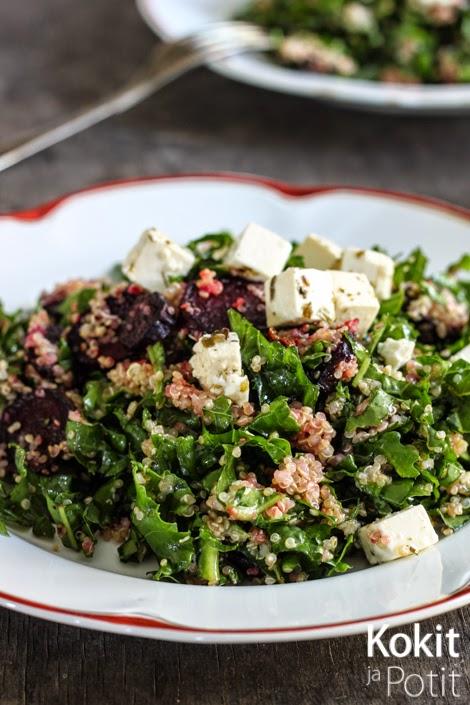 Salaatti syksylle: lehtikaalia, kvinoaa ja punajuurta