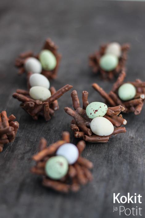 Pääsiäisen suklaiset linnunpesät