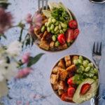 Teriyaki-kulho. Kuvassa on kaksi kulhoa, joissa on tofua, papuja, avokadoa ja tomaattia.